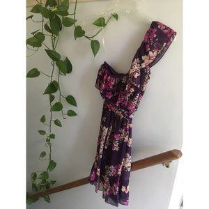 Purple floral off-the-shoulder dress